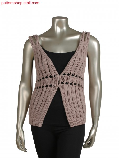 Fully Fashion vest in 1x1 technique, braided shoulder detail, cast off structure