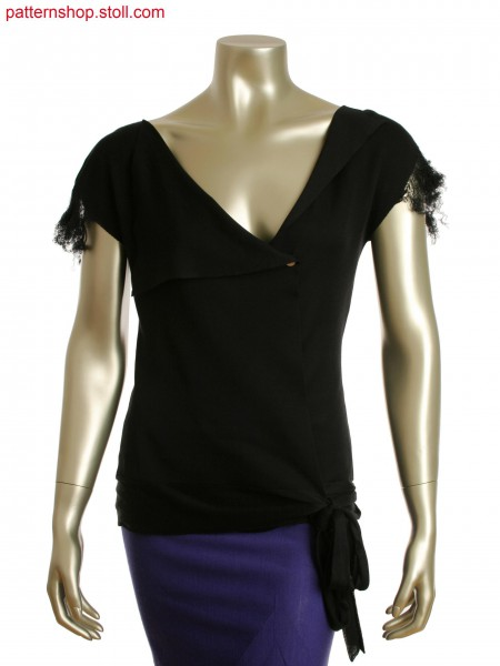 Fully Fashion wrap around top in interlock structure with knitted on fringes