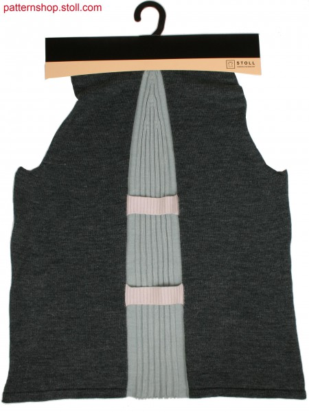 Front part of jersey raglan pullover in 1x1 technique  with bonded body tabs on narrowed intarsia rib insert