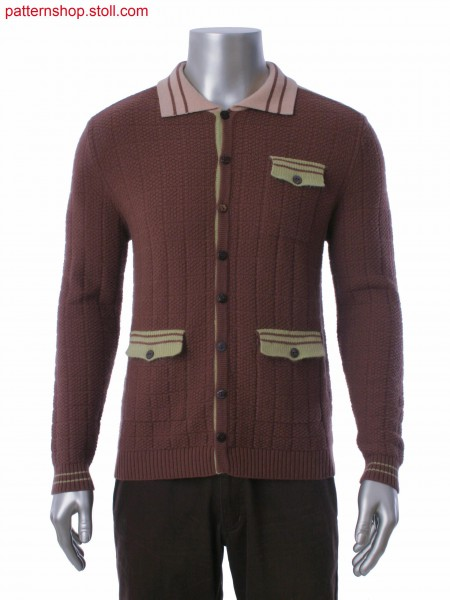 Fully Fashion cardigan with insert pocket and rice grain structure. Pocket flap with integral button hole.