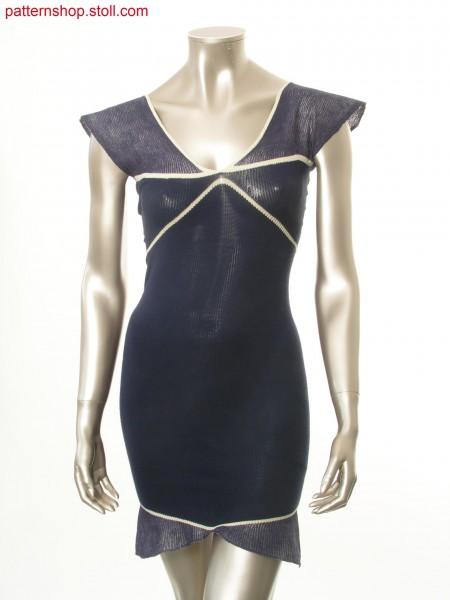 Dress in tuck stitch structure shaped by gore technique / Kleid in Fangstruktur mit Formgebung durch Spickeltechnik