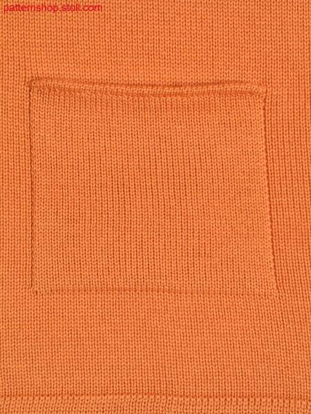 Jersey knitted fabric in 1x1 technique with patch pocket /Rechts-Links Gestrick in 1x1 Technik mit aufgesetzter Tasche