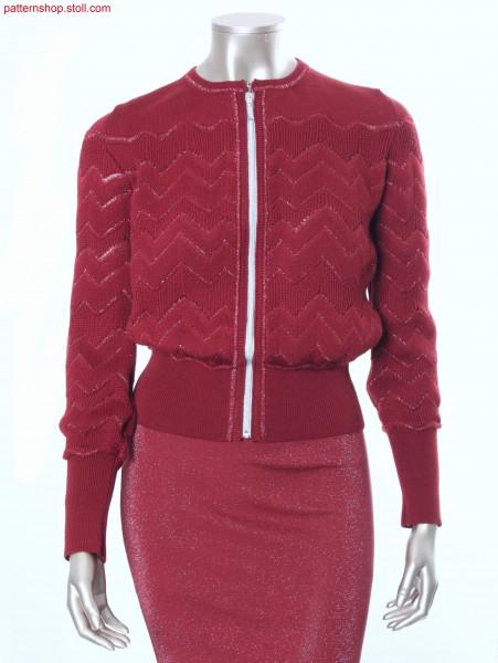 Fully Fashion cardigan with herringbone-racking design / Fully Fashion Strickjacke in Knieversatz-Musterung