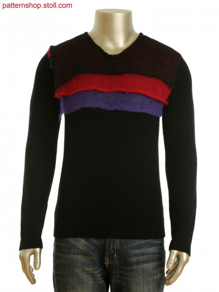 Fully Fashion V-neck pullover with contrast color flaps in 3layer technique