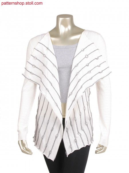 Fully Fashion jacket with alternate knitting stripes, pickup and cast off for long float, body knitted in one piece