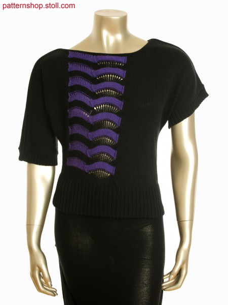 Fully Fashion asymmetric batwing top with intarsia and pointelle structure
