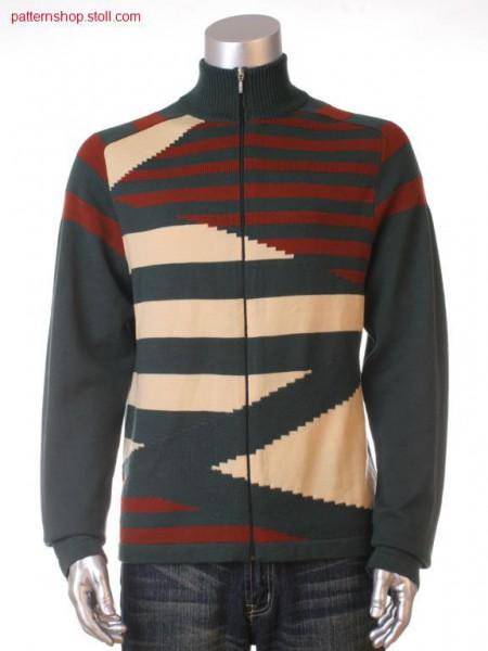 Ringed Fully Fashion cardigan with saddle shoulder / Geringelte Fully Fashion Strickjacke mit Sattelschulter