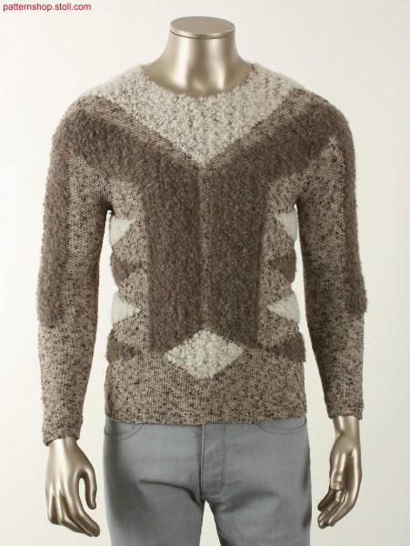 Fully Fashion Intarsia boyfriend pullover with tuck-piqu