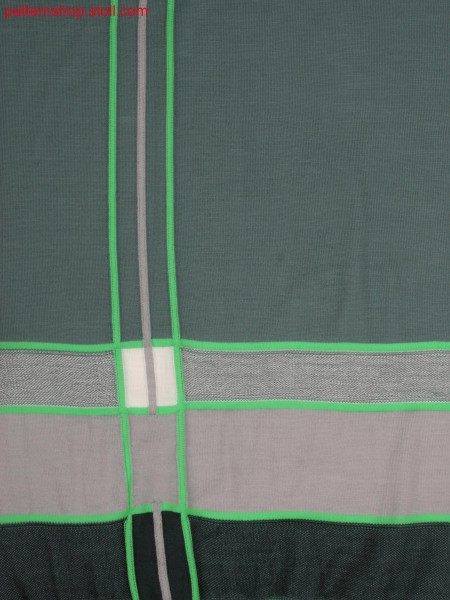 Swatch of 0910102 with differnt jersey structures and stitch doubling after start