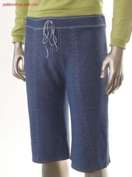 Knee-length jacquard jeans trousers / Knielange Jacquard Jeanshose in Perlfang
