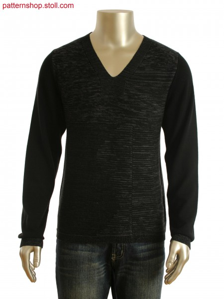 Fully Fashion pullover with integrated V-neck. Front panel in plated technique with twisted contrast yarn.