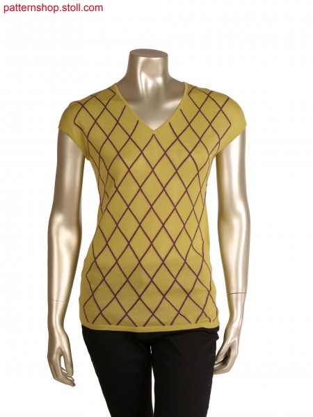 Fully fashion sleeveless top, intarsia diamonds