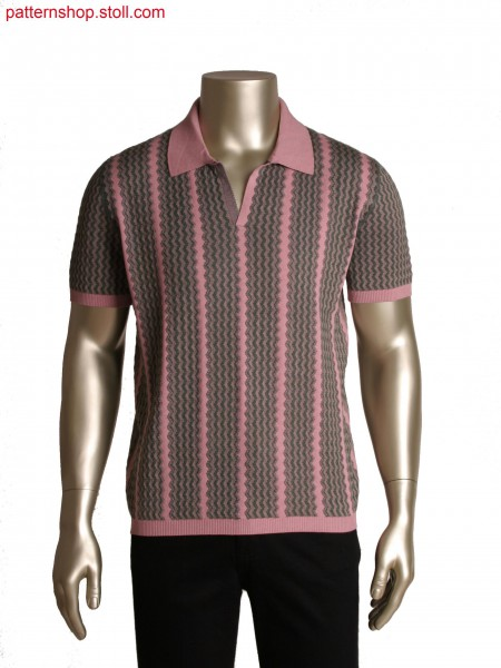 Fully Fashion poloshirt in 3 colours,intarsia and jacquardwith 28 yarn carriers OIFF