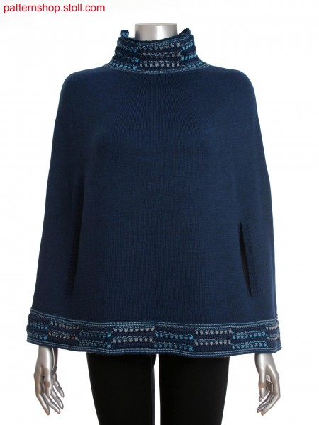 Fully Fashion women's poncho with multicolored structure at collar and hem