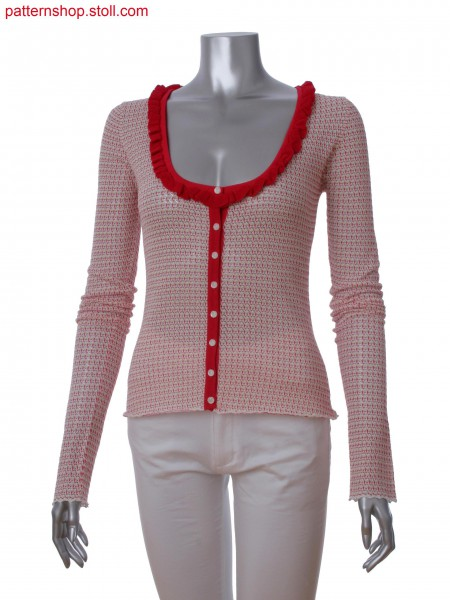 Fully Fashion cardigan with 3-color stripes in pointelle structure and ruffle trim