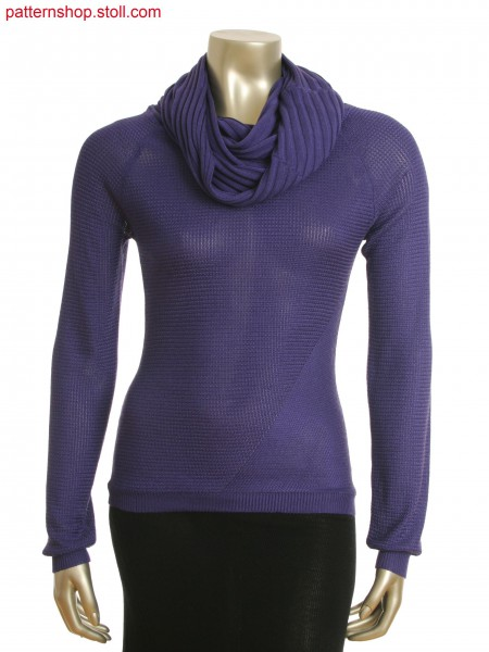 Fully Fashion pullover with relief jacquard and tube-hood collar in 6x6 rib