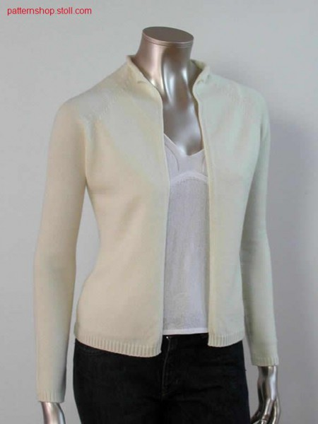 Tailored cardigan with 2:1 start and linking off after body-sleeve connection