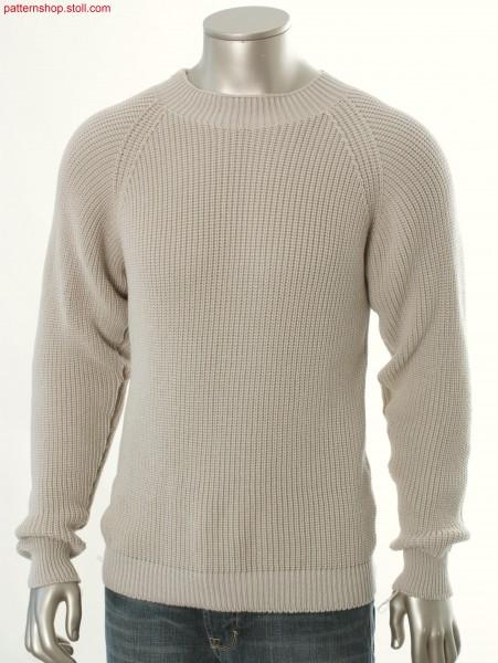 Raglan pullover in half-cardigan / Perlfang Raglanpullover
