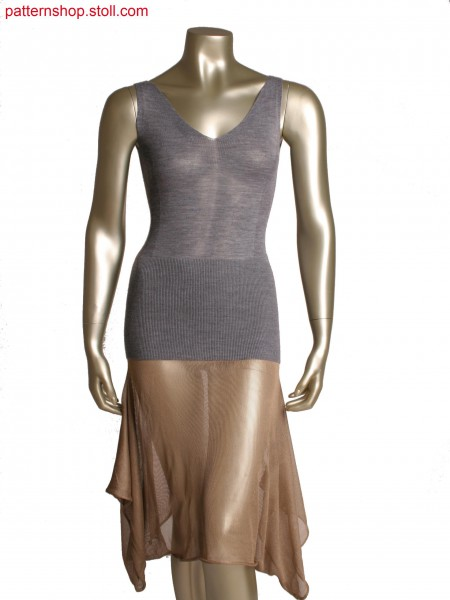 Stoll-knit and wear&reg dress, changeable to layered top, single jersey and 1x1 rib structure