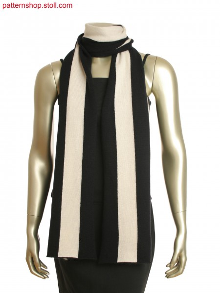 Wide,single juersey, intarsia scarf with vertical black and white stripes