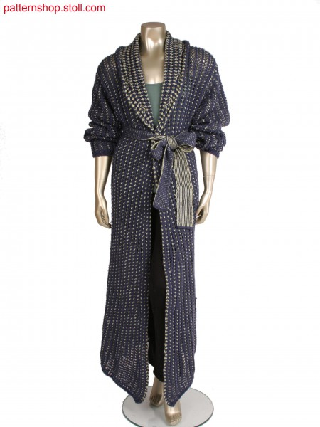 Fully fashion coat with integrated shawl collar, net structure in 2 colour stripes