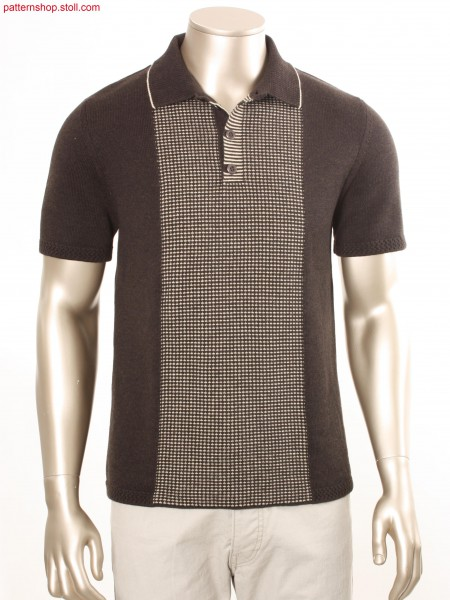 Fully Fashion jersey polo shirt with central area with tuck pattern / Fully Fashion Rechts-Links Polohemd mit Pre