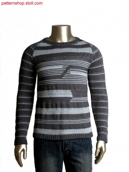Fully Fashion pullover with 2-colour structured stripes