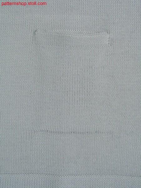 Jersey knitted fabric in 1x1 technique with inset pocket /Rechts-Links Gestrick in 1x1 Technik mit eingesetzter Tasche