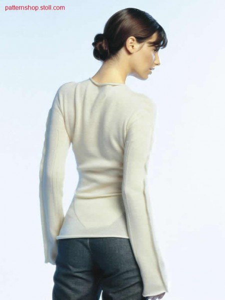 Fitted jersey pullover with sleeve pin-tucks and ribs / Taillierter Rechts-Links Pullover mit
