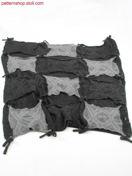 Patchwork blanket with jersey structure base / Flickendecke mit Rechts-Links Strukturbasis