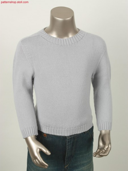 Jersey pullover with saddle shoulder and crew neck / Rechts-Links Pullover mit Sattelschulter und Rundhals