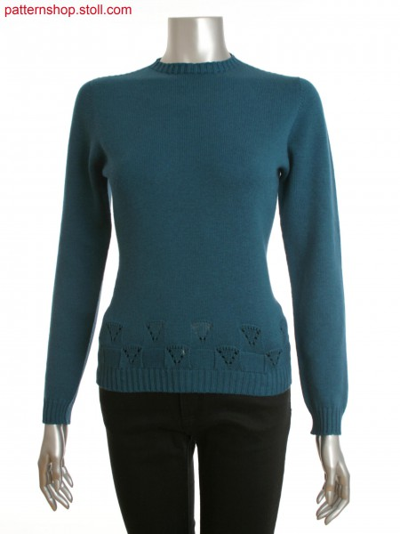Stoll-knit and wear&reg women's crew neck sweater with pointelle detail at hem