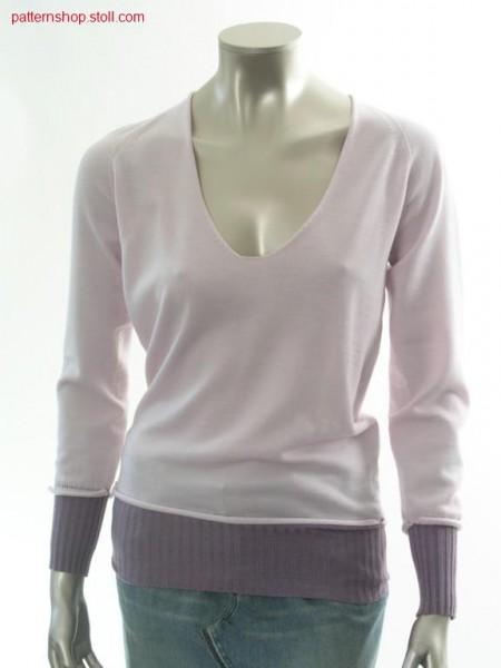Jersey raglan pullover with horseshoe neckline / Rechts-Links Raglanpullover mit Hufeisenausschnitt