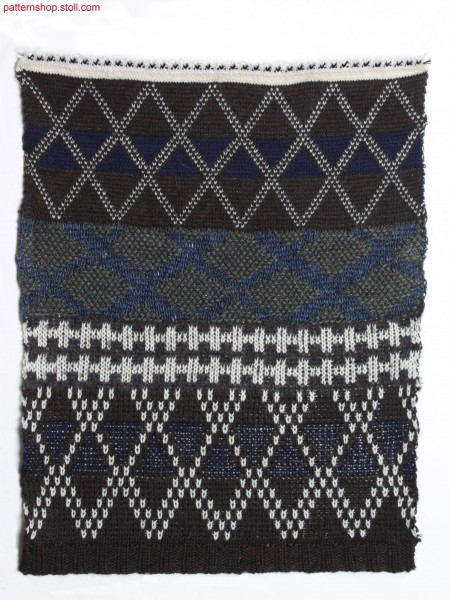 Swatch with striped in various types of jacquard constructions / Musterausschnitt mit Ringel in verschiedenen Jacquards