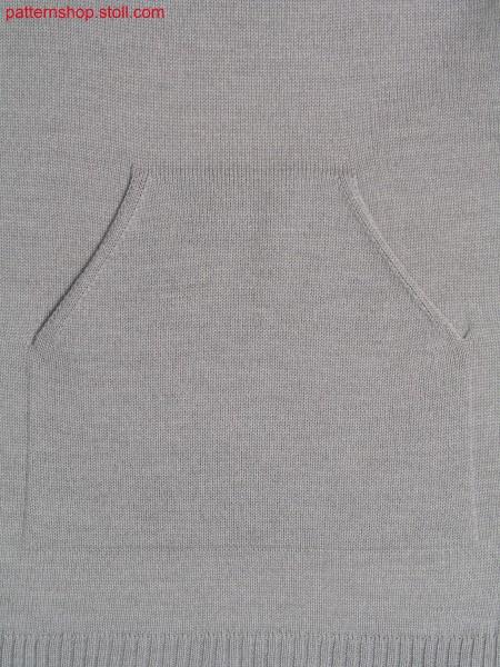 Jersey knitted fabric in 1x1 technique with kangaroo pocket / Rechts Links Gestrick in 1x1 Technik mit K