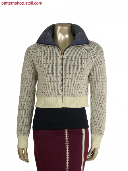 Stoll-multi gauges&reg, Fully Fashion jacket in 1x1 technique, 3 colour half cardigan structure in 10gg optic
