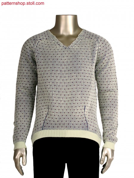 Fully fashion V-neck pullover with transfer detail, 3 colour half cardigan structure in 7gg optic
