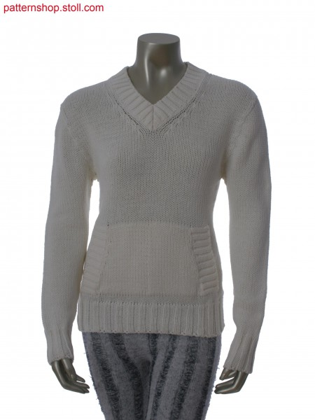 Jersey pullover with muff pocket / Rechts-Links Pullover mitMufftasche