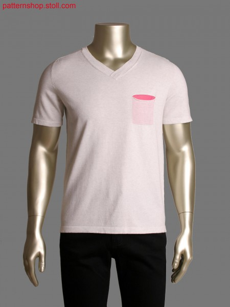 Stoll-applications&reg, Fully fashion T-shirt with gored neckline,2 colour tubular relief jacquard at shoulder
