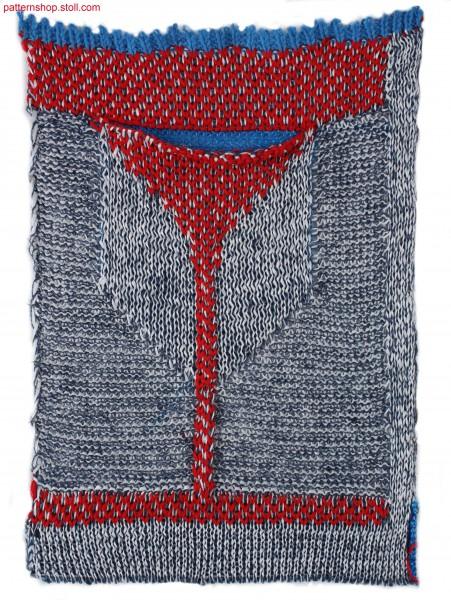 Swatch in plated jersey with knitted on pocket / Musterausschnitt in plattiertem Rechts-Links mit angestrickter Tasche