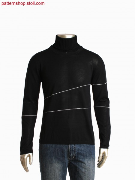 Fully Fashion deep round neck pullover with detachable 2x2rib turtle neck collar, stripe in gore technique