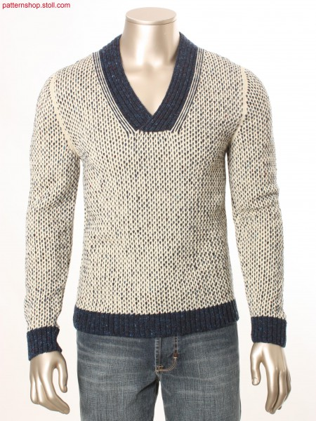 Fully Fashion pullover in 2-colour pointelle structure / Fully Fashion Pullover in 2-farbiger Petinetstruktur