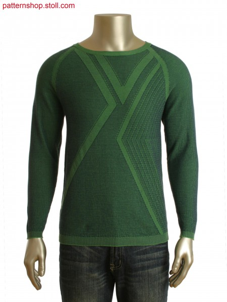Fully Fashion 2-color striped pullover with racked loop structure