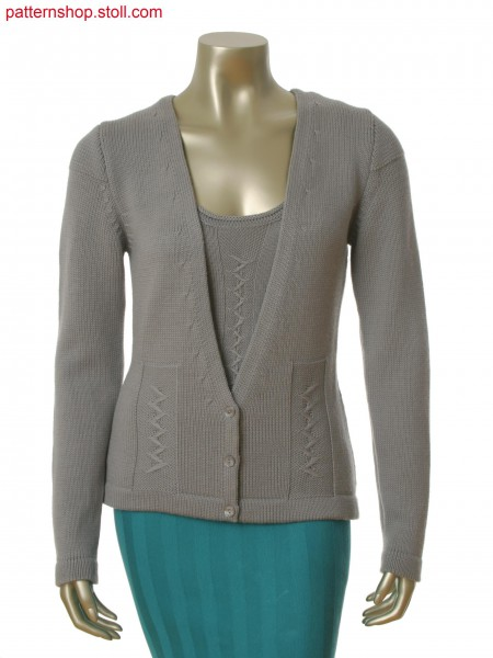 Stoll-flexible gauge&reg 4 gauge optic Fully Fashion cardigan with float structure in zig zag optic