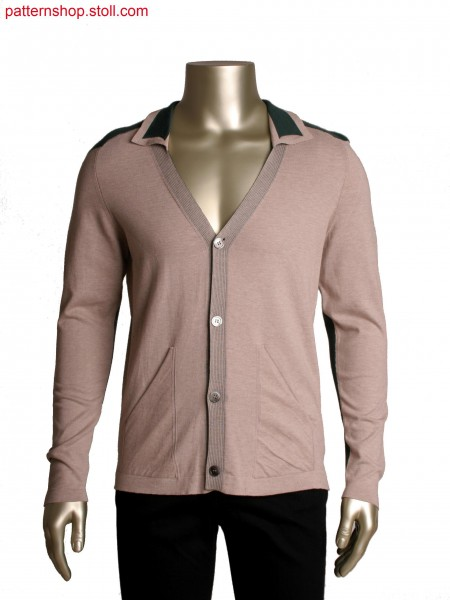 Fully Fashion cardigan with integrated pocket in all needle technique,doublebed structure at sleeve and shoulder