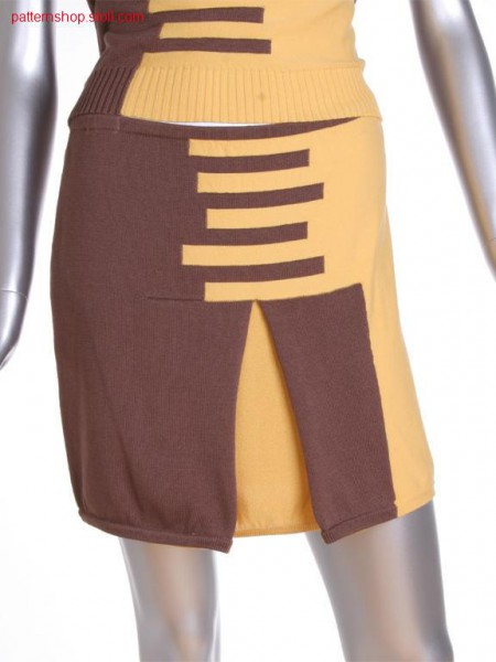 FF-Intarsia jersey skirt with box pleat / FF-Intarsia Rechts-Links Rock mit Kellerfalte