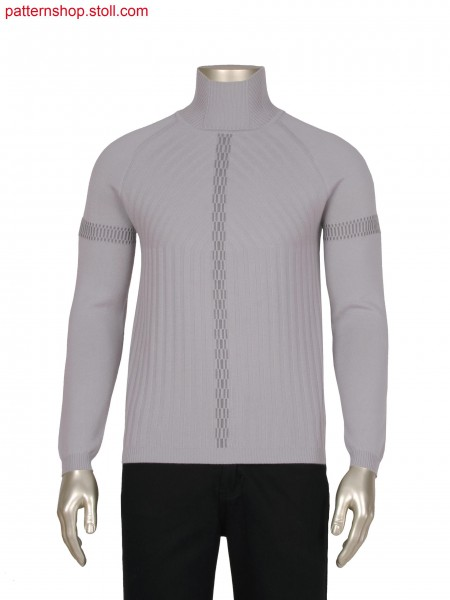 Fully Fashion 3 colour stripe pullover,full rib lines in transfer,intarsia net jacquard as detail