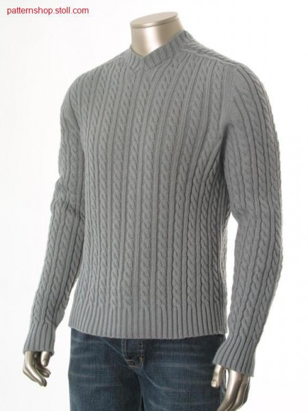 Rib Pullover with 2x3 cables and saddle shoulder / Ripp-Pullover mit 2x3 Z