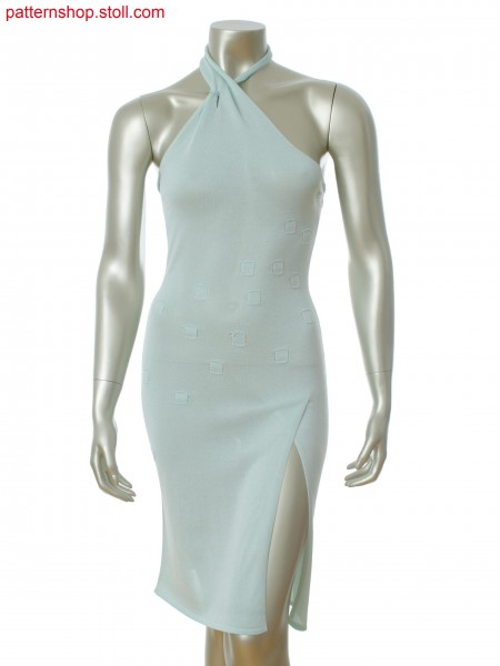 Fully Fashion dress with draped neckline and overlapping slit. Motif in gore technique.