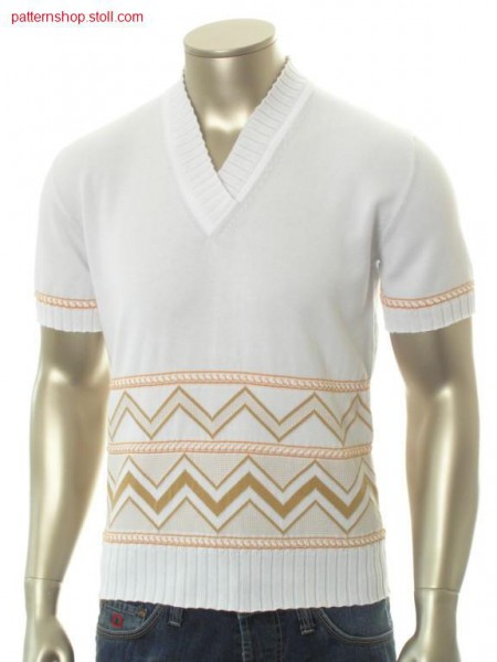 FF-jersey short-sleeved pullover with jacquard border / FF-Rechts-Links Kurzarmpullover mit Jacquardbord